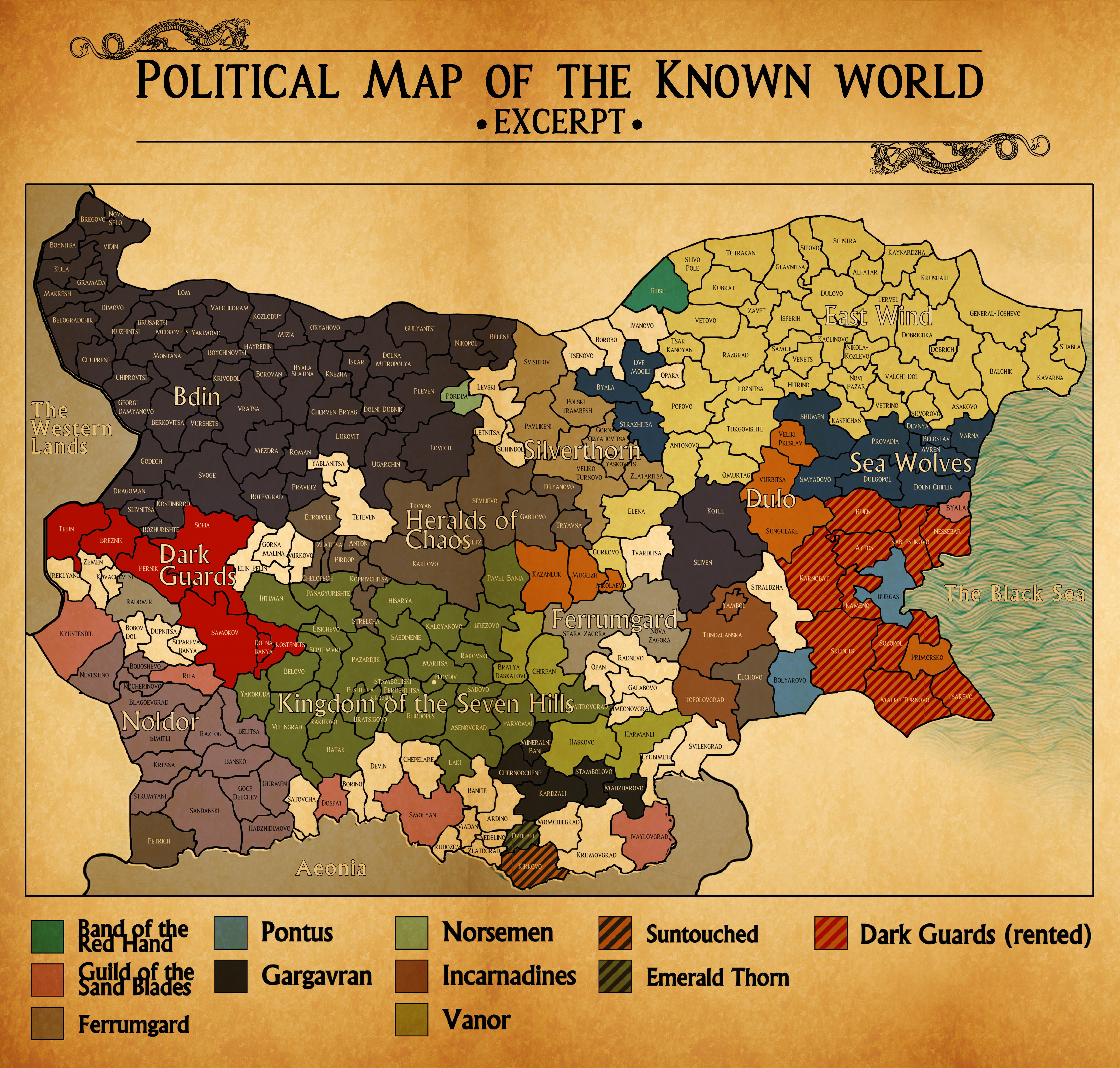 political map of the known world